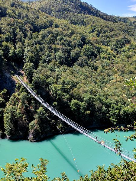 de brug van een afstand